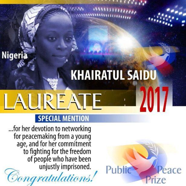 Khairatul Saidu , The Puplic Peace Prize Recipient